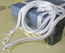 Plata De Ley Maciza 925 Collar De Cadena pulgadas 3mm Envío Gratuito