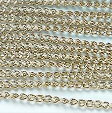"Gold Curb Chain Jewelry Essentials Finding 72"" 1.8 meters 3mm Links"