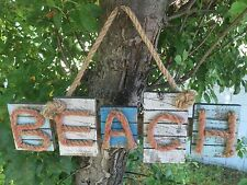 """Large 16"""" Beach Wood Plaque with Rope Letters Nautical Beach House Decor"""