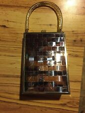 Vintage Silver Metal Weave Upright Purse, Clear Speckled Lucite Handle, Mod Look