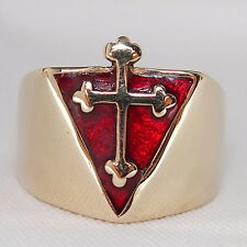 HUGE HEAVY CHRISTIAN BISHOPS RING Coptic Rose CROSS Red Enamel PYRAMID Catholic