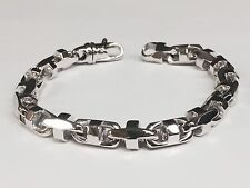 10k Solid White Gold Anchor Mariner Link Chain Bracelet 8.5 MM 47 grams  8""