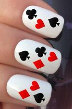 WATER NAIL PLAYING CARD HEARTS CLUBS DIAMOND SPADE TRANSFERS DECAL STICKERS *689