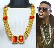 "MENS HIP HOP RAPPERS 15mm 33"" MIAMI ICED OUT CUBAN LINK CHAIN RED RUBY NECKLACE"