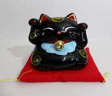 Maneki Neko Lucky Cat Both Hand Raise Coin Bank Money Pot Figure Black
