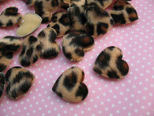 10 x LEOPARD PRINT HEART 20MM APPLIQUE EMBELLISHMENT HEADBANDS BOWS PHONE CASE