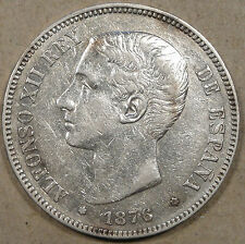 Spain 1876 5 Pesetas Silver Crown Baggy Better Grade Coin with Luster