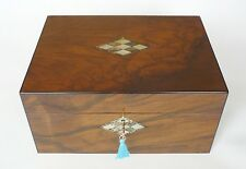 Antique Ebony Lipped, Figured Walnut, Mother of Pearl & Abalone Jewellery Box