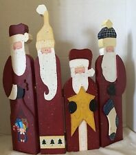 "Rustic Wood Santa Clause Folding Figures Measures 14.25"" W X 16.25"" L"
