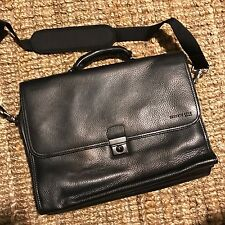 Kenneth Cole Black Leather Portfolio Laptop Briefcase Attache Messenger Work Bag