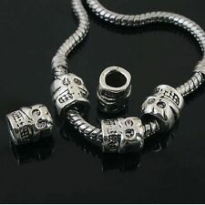 6pcs Tibetan Silver skull spacer Beads Fit European charm Bracelet  L0067