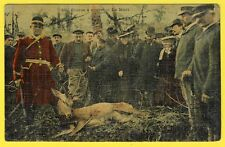 cpa CHASSE à COURRE La MORT Cerf Chasseurs, HUNT deer Death