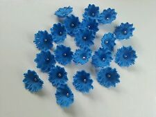 Royal Blue Edible Sweet Williams Flowers Cake Cupcake Decoration Birthday Topper