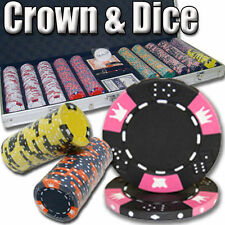 NEW 500 Crown & Dice 14 Gram Clay Poker Chips Aluminum Case Set Pick Your Colors