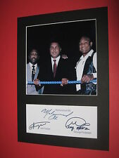 MUHAMMAD ALI GEORGE FOREMAN JOE FRAZIER BOXING  MOUNT SIGNED REPRINT AUTOGRAPHS