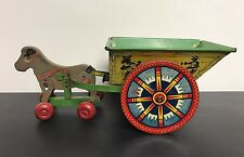 Vintage 1950s Elenee Pull Toy Donkey Pulling Cart ~ Tin and Wood Made in NY
