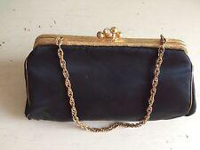 Vintage 20s Art Deco Silk Evening Bag Purse Handbag Gilt Chain Diamanté Clasp
