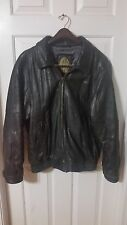80S VTG MEMBERS ONLY BLACK BOMBER/ MOTORCYCLE LEATHER JACKET LARGE