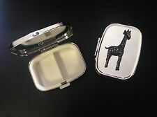 Giraffe Pewter Effect Emblem On a Silver Metal Pill Box