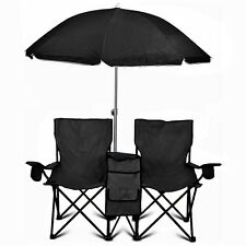 GoTEAM! PORTABLE STEEL DOUBLE FOLDING CHAIR W/REMOVABLE UMBRELLA PLUS COOLER BAG