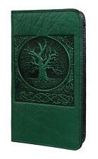 WORLD TREE Oberon Design Leather CHECKBOOK COVER/Holder Green celtic knot CKM18