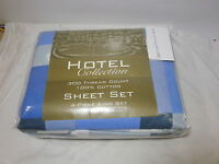 New 4-Piece Hotel Collection King Sheet Set Navy Blue White Gray Plaid 300 TC
