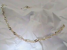 14K White Yellow Gold on .925 Italy Twisted Cuban Link Anklet Ankle Bracelet 9""