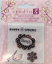 NEW STUDIO G CLEAR STAMP HAPPY SPRING BLOOM FLOWER VC0045 186