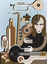 ART PRINT POSTER PAINTING DRAWING MUSIC SHOP CARTOON GUITAR TRUMPET LFMP1070