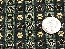 Fabric Dog's Ruff Life Paw Prints & Star Checker on Cotton by the 1/4 yard Green