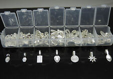 100pcs Mix 925 Silver Plating Glue on Bail Earring Bails Glass Pendant Charms