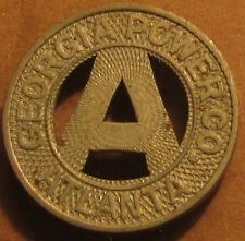 1938 Georgia Power Co. Atlanta, GA Transit Trolley Token - Georgia