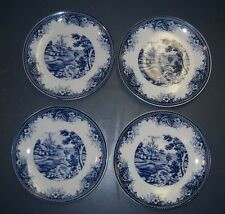 "VINTAGE 4 PCS FLOW BLUE TRANSFER COUNTRYSIDE BROOK COTTAGE SCENE 6"" BREAD PLATES"