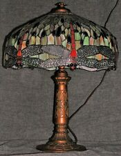 """Vintage Dragonfly 18"""" Shade Mosaic Stained Glass Lamp Leaded Jewels Faux Bronze"""