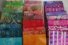 Lot of 10 fat quarters, No Duplicates, 100% BATIK Cotton Quilting Fabric,