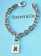 Tiffany & Co Argento Sterling Note Red Heart Lucchetto Bracciale con Charm