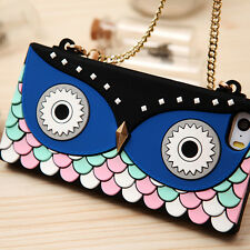 Owl Silicone Cross Over Purse Handbag case W Gold Chain Straps For iPhone 5 5S