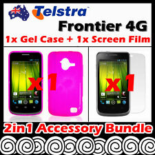 Telstra Frontier 4G Telstra Pink Soft Jelly TPU Gel Case Cover Screen Protector
