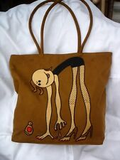 Brown suede effect tote bag 2 handles 32x36x10 embroidered girl paint toenails