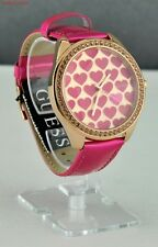 New Stylish 100% Original Ladies Watch GUESS Pink Leather Women Bright Heart