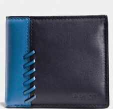 Coach 75212B Men's Boxed Black/ Denim Blue Rip & Repair Billfold Leaather Wallet