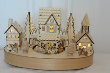 Christmas Wooden Indoor Musical LED lights Village Church Scene rotating Train