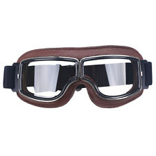 Retro Vintage Aviator Pilot  Motorcycle Bikes Racing Goggles Glasses Clear Lens