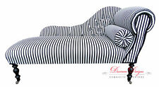 Gorgeous Black & White Striped Button Back Chaise Longue
