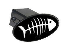 "Fish Bones White On Black - 2"" Tow Trailer Hitch Cover Plug Insert"