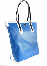 Lacoste Royal Blue White L Alligator Tote Shopper Vertical Purse Bag Handbag NWT
