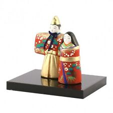 """Japanese mini size Standing Hina Doll(tachibina) H2.9""""  RED and GOLD Color"""