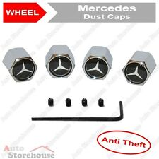 Mercedes Anti Theft Tyre Valve Dust Caps [Black]