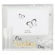 Our Wedding Day Glass Mirror Photo Frame Ideal Gift
