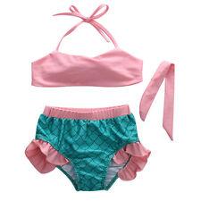 Baby Girls Little Mermaid Princess bathing Bikini Set Swimwear Swimsuit 4-5Y